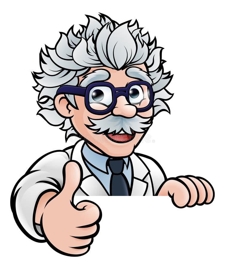 El científico Cartoon Character Sign manosea con los dedos para arriba libre illustration
