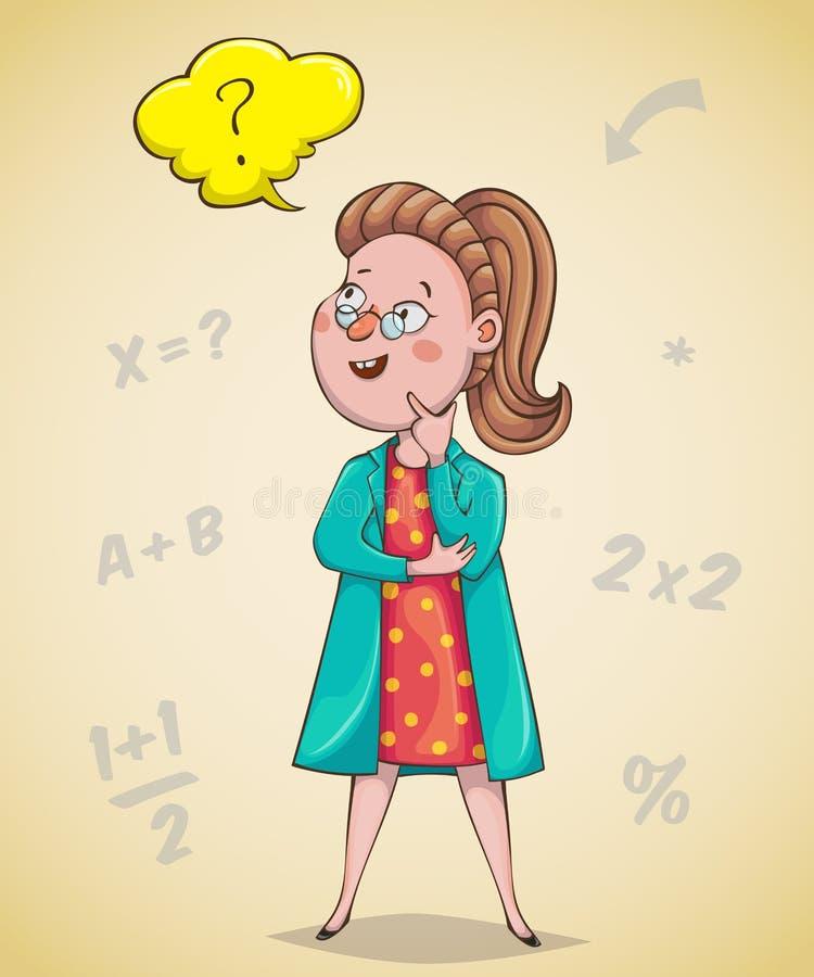 El científico de la muchacha está pensando Personaje de dibujos animados ilustración del vector
