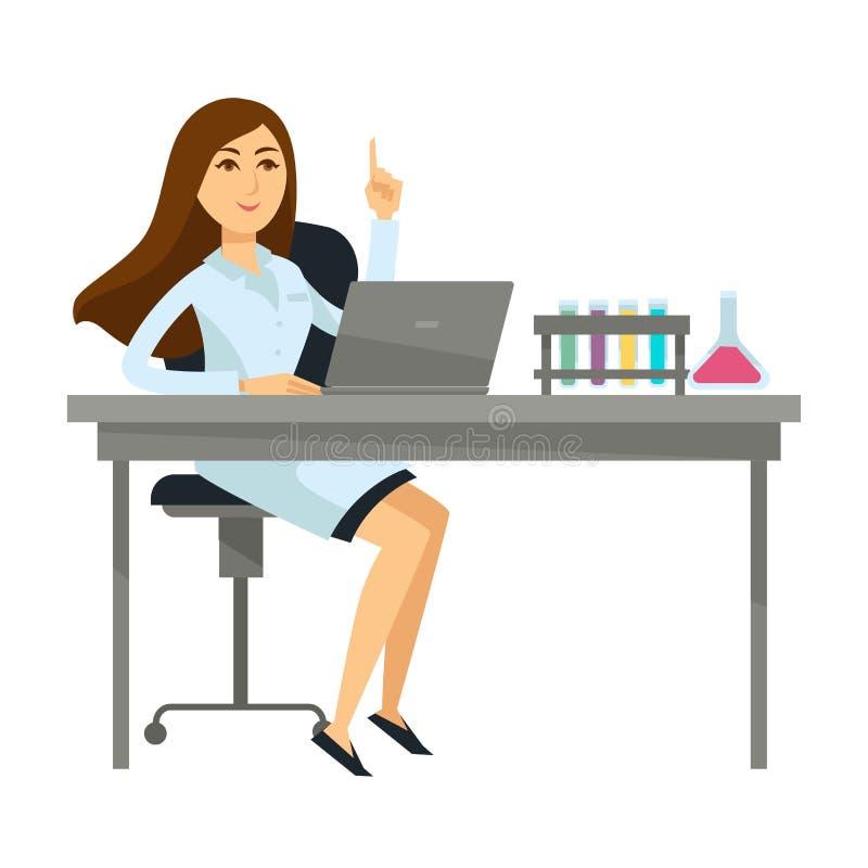 El científico de la mujer se sienta con los frascos del ordenador portátil y del vidrio stock de ilustración