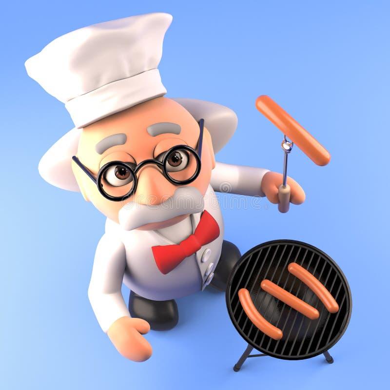 El científico enojado hambriento está cocinando las salchichas en el Bbq de la barbacoa, 3d rinde ilustración del vector