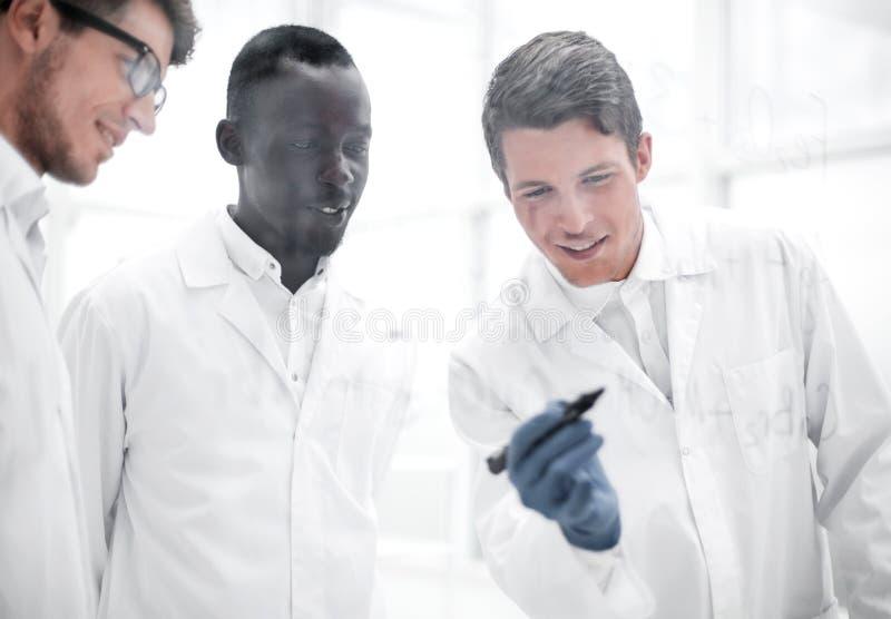 El científico joven hace notas en un tablero de cristal foto de archivo libre de regalías