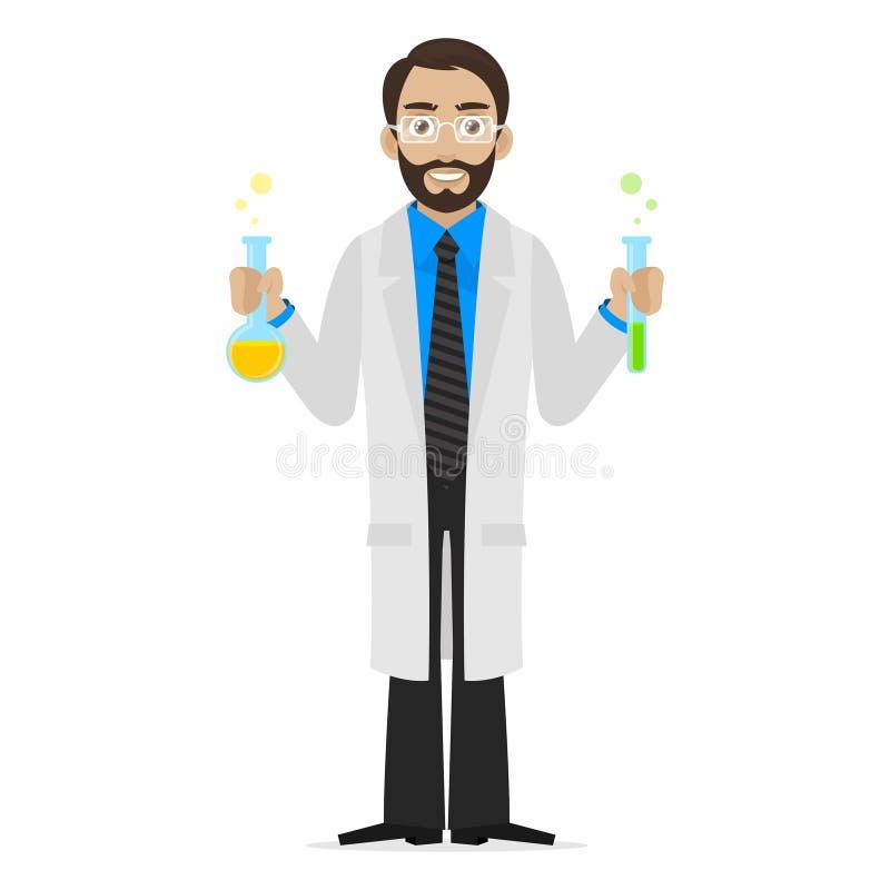 El científico mantiene las sustancias químicas tubo de ensayo ilustración del vector