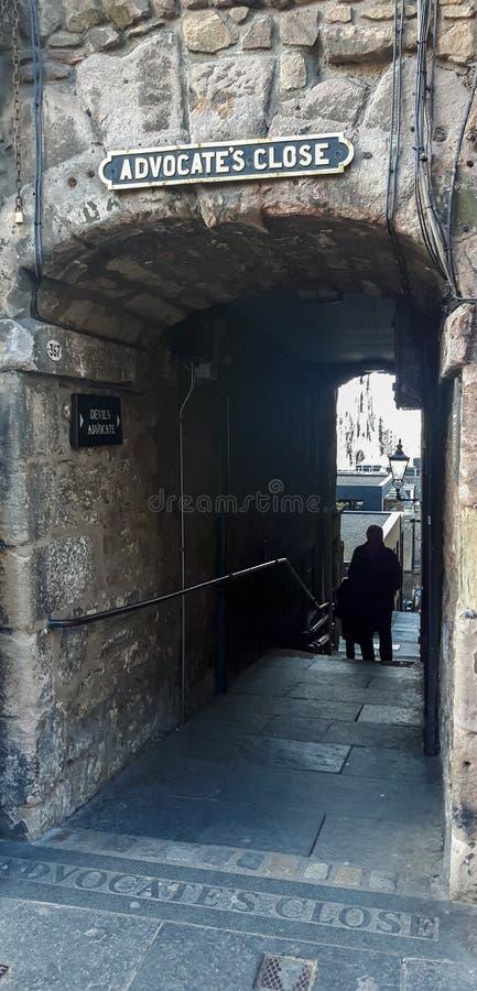 El cierre del abogado en Edimburgo fotos de archivo