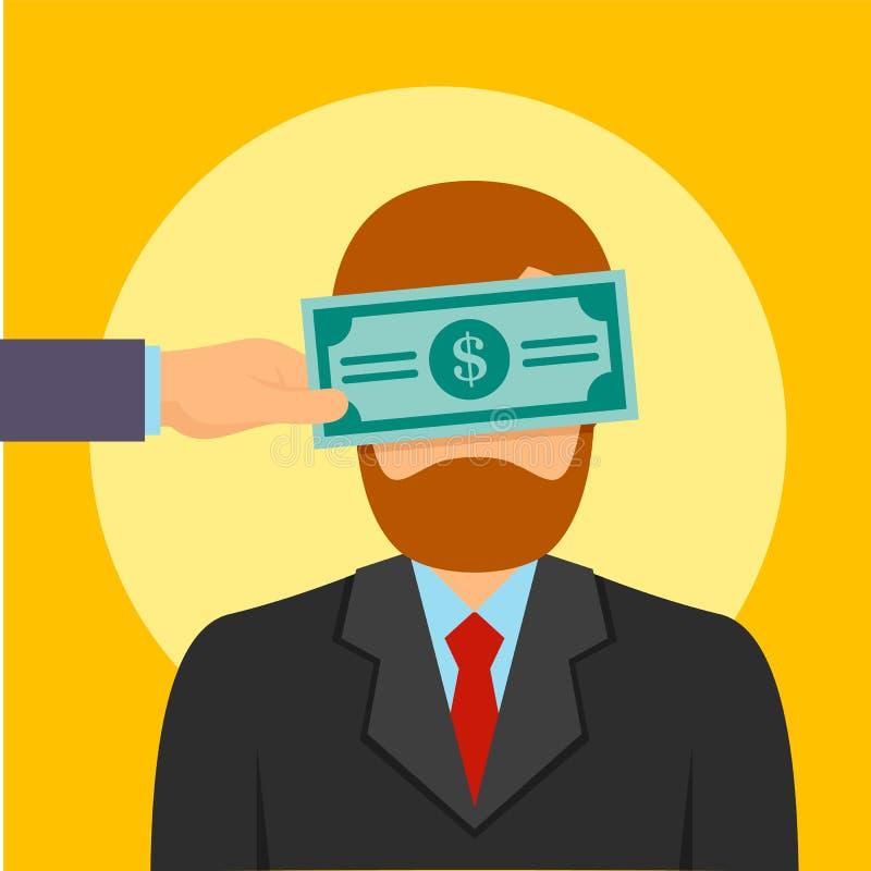 El cierre del dinero del soborno observa el fondo del concepto, estilo plano stock de ilustración