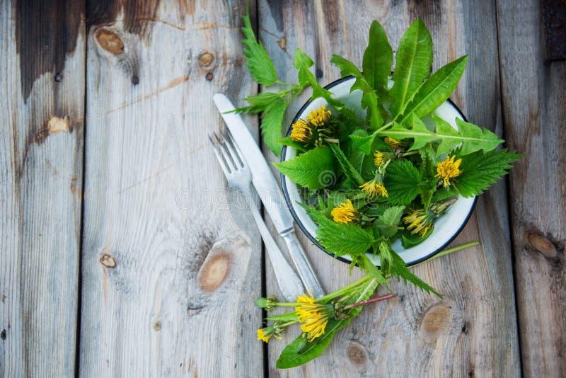 El cierre encima de la ensalada deja las hierbas del jardín y las flores comestibles Nutrición sana Fondo del alimento imagen de archivo