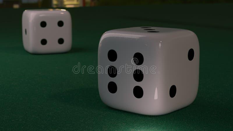El cierre encima de la vista a dos corta en cuadritos en una tabla verde en casino representación 3d stock de ilustración