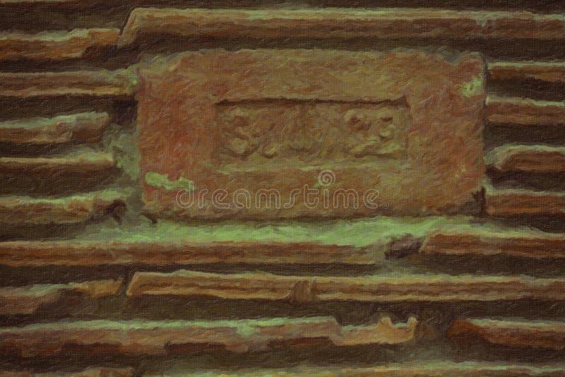 El cierre encima de las tejas rojas de la pared de la teja texturiza el fondo libre illustration