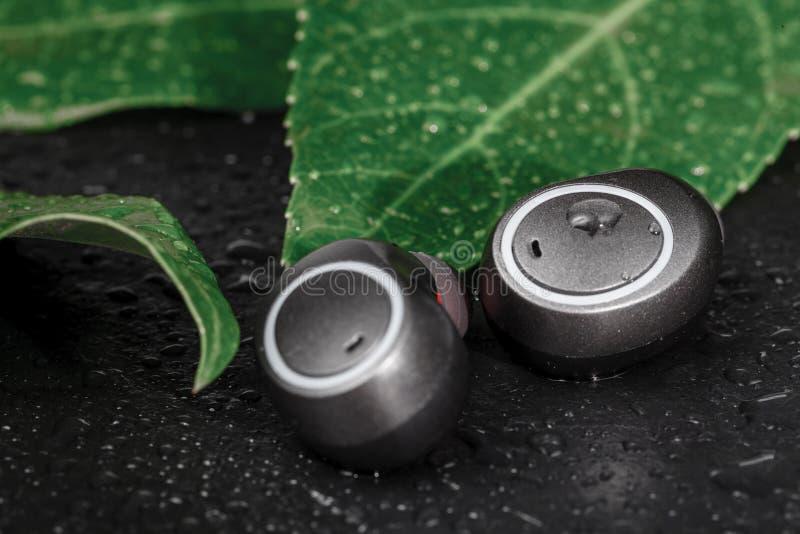 El cierre encima de los auriculares inalámbricos, impermeabiliza para los fitnes imágenes de archivo libres de regalías