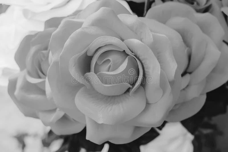 El cierre encima del color blanco y negro de las flores color de rosa hechas de tela es tonos dulces suaves de los pétalos del es foto de archivo