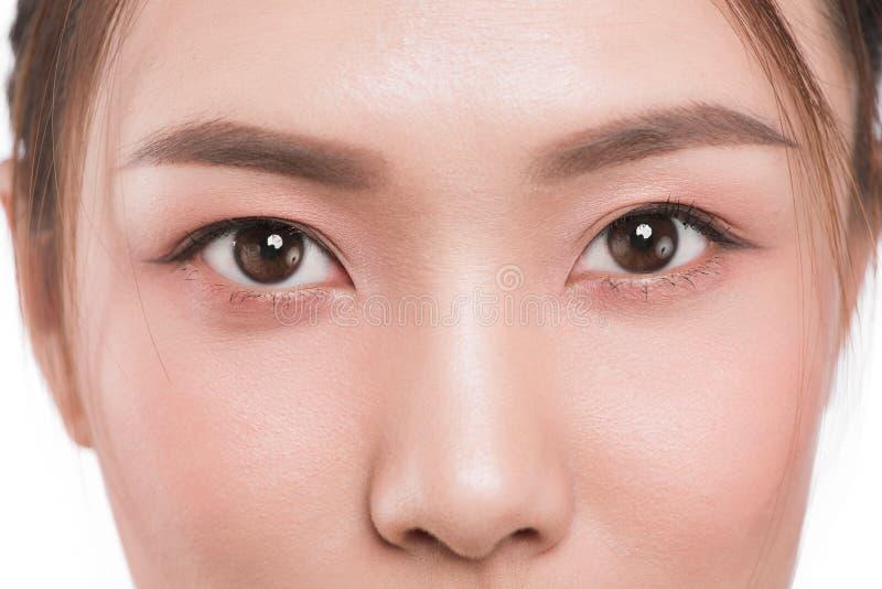El cierre para arriba de la ceja asiática de la mujer del ojo observa latigazos foto de archivo libre de regalías