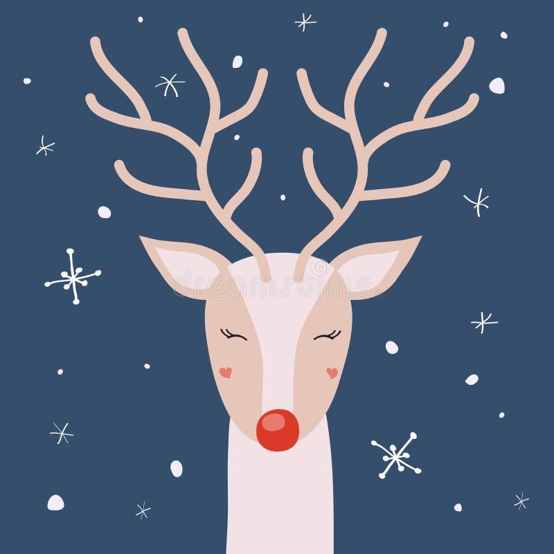 El ciervo con los cuernos está gozando de la nieve, tarjeta de Navidad del vector libre illustration