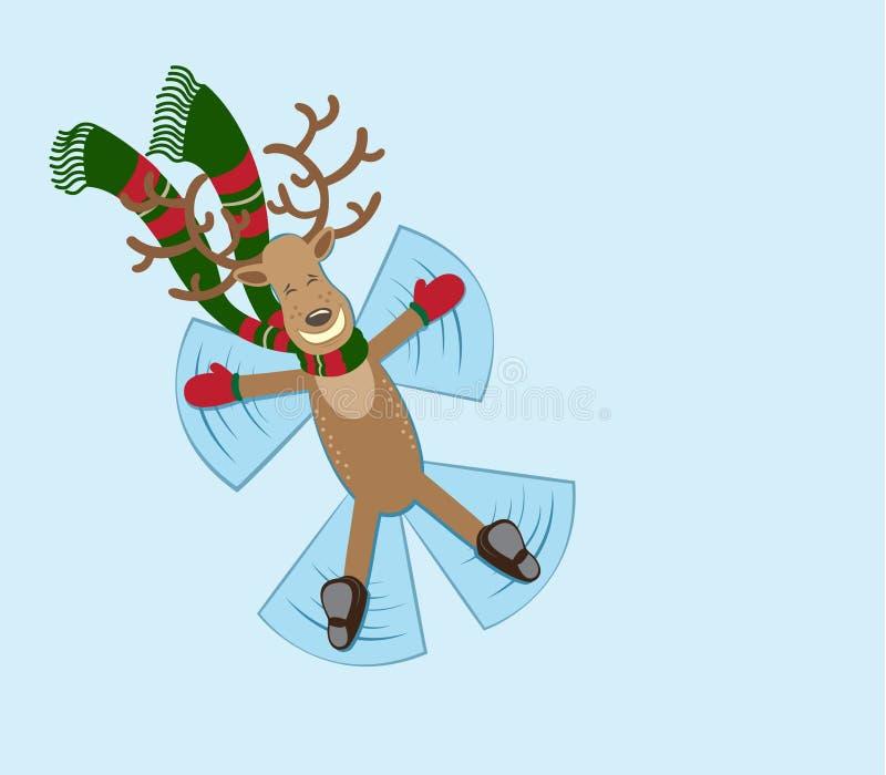 El ciervo feliz hace ángel de la nieve imagen de archivo libre de regalías