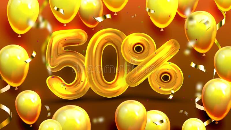 El cincuenta por ciento o vector de comercialización de la oferta de Navidad 50 libre illustration