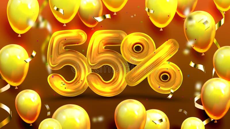 El cincuenta y cinco por ciento o vector de comercialización de la oferta 55 ilustración del vector