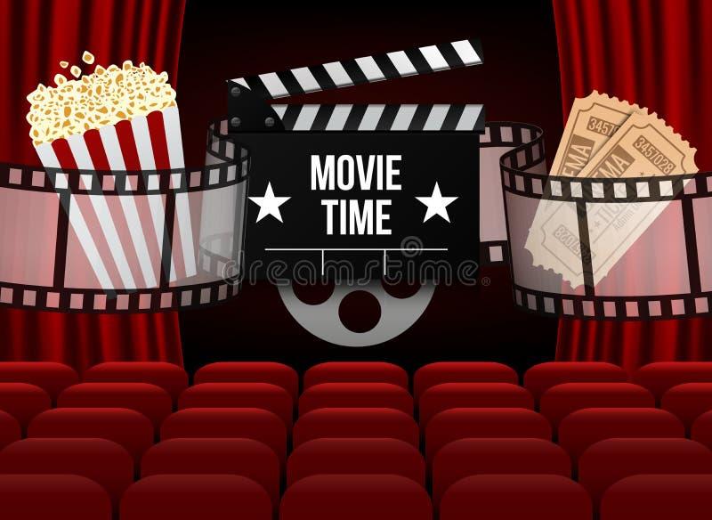 El cine con la fila del rojo asienta las palomitas y los boletos Plantilla del evento de la premier Diseño estupendo de la demost libre illustration