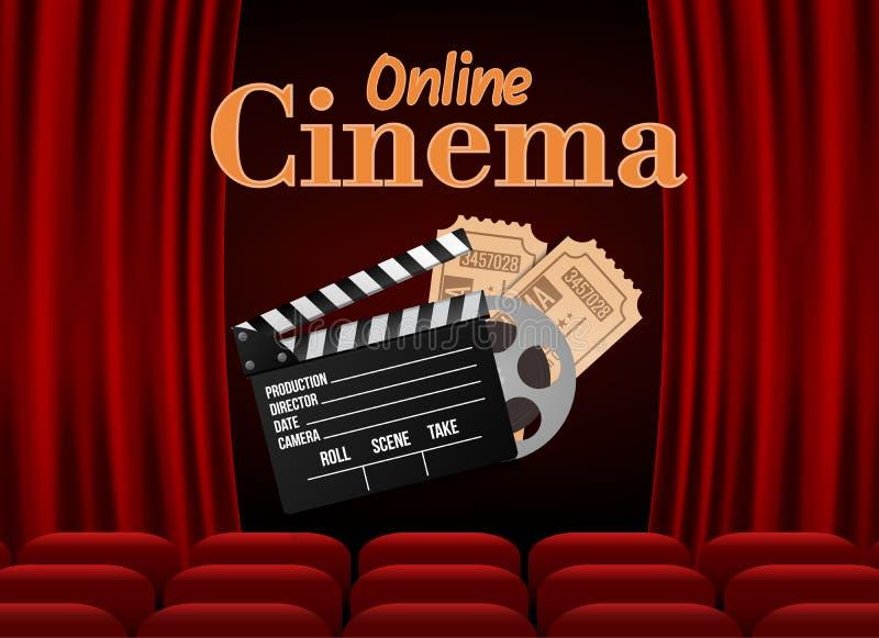 El cine con la fila del rojo asienta las palomitas y los boletos Plantilla del evento de la premier Película en línea del arte de ilustración del vector