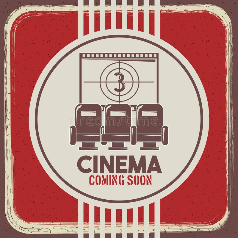 El cine que viene pronto los asientos y película retros del estilo del cartel pela cuenta descendiente stock de ilustración