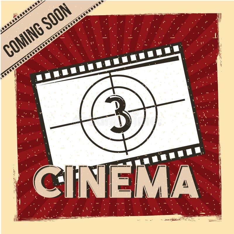 El cine que viene pronto rojo de la cuenta descendiente de la tira de la película del cartel raya el fondo libre illustration