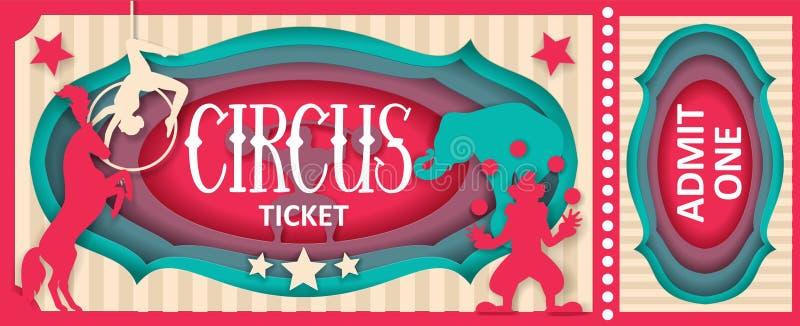 El circo admite una plantilla de corte del papel del vector del boleto stock de ilustración