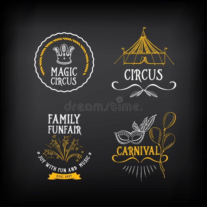 El circo y el vintage del carnaval diseñan, etiquetan elementos Vector con ilustración del vector