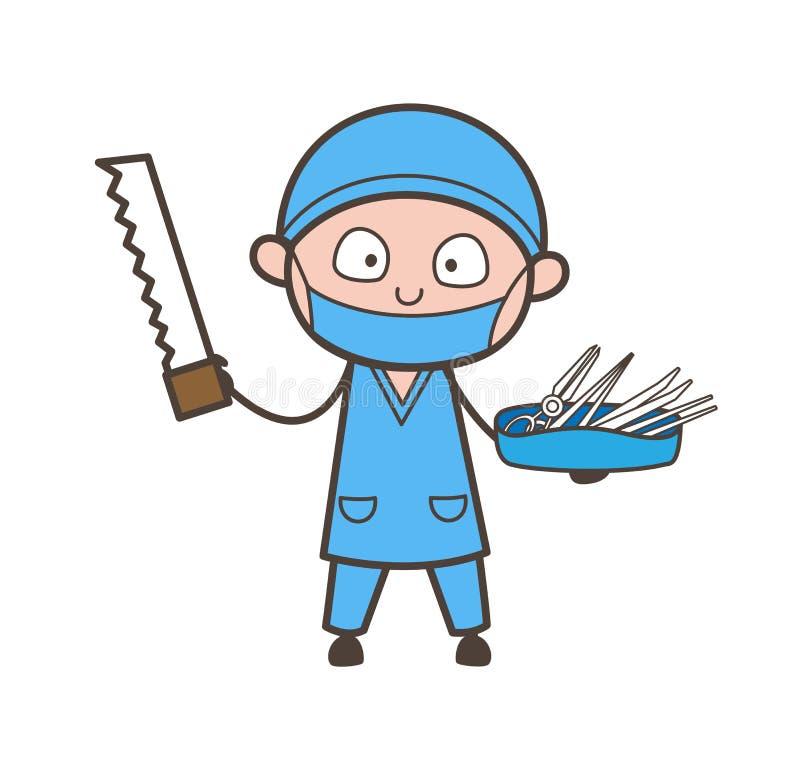 El cirujano de la historieta con vio vector del cortador y de los equipos médicos libre illustration