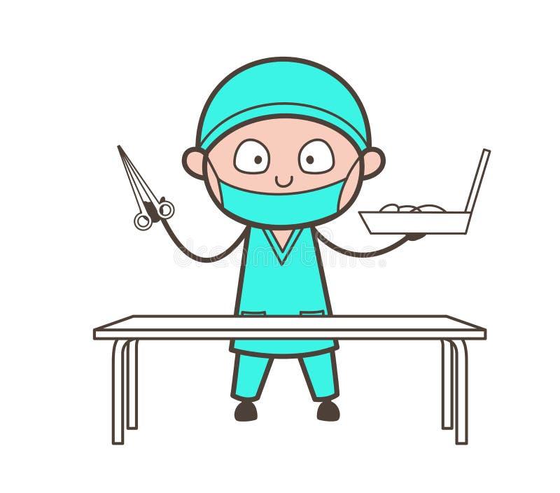 El cirujano Holding de la historieta las tijeras y caja de herramientas Vector stock de ilustración