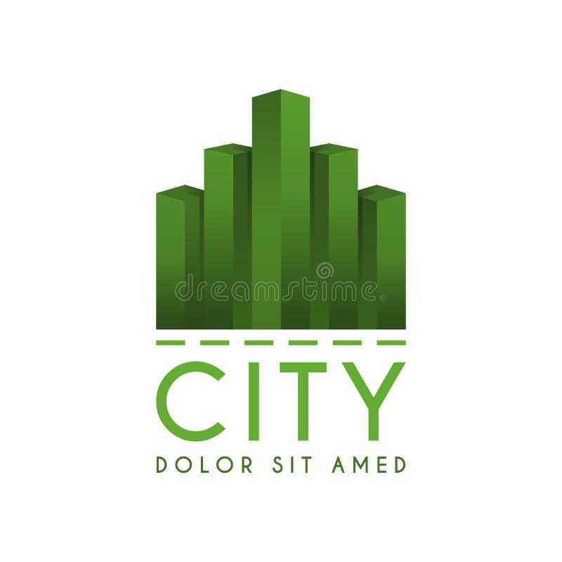 El city& x27; s pone verde el logotipo con muchos rascacielos, ciudad de la señal del logotipo con el edificio verde de la gradac stock de ilustración