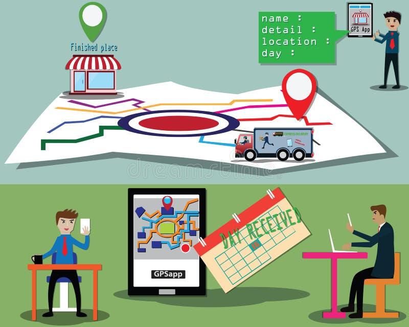El cliente era de comprobación y de siguiente del camión de reparto con la aplicación móvil - vector ilustración del vector