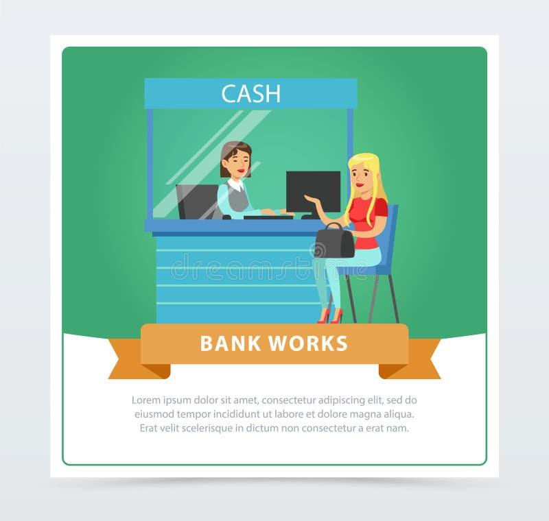 El cliente femenino en el escritorio de efectivo en la oficina del banco, banco trabaja la bandera para el folleto de publicidad, stock de ilustración