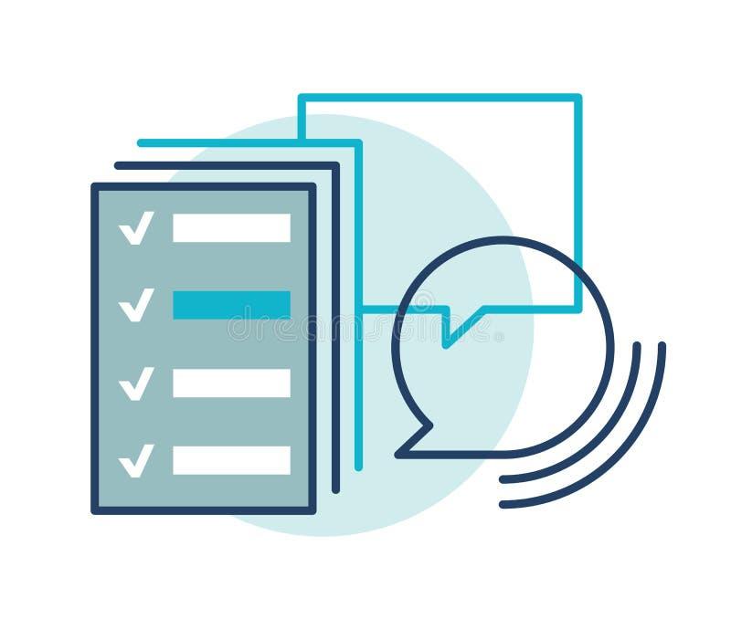 El cliente revisa el icono, buen clasificación, retroalimentación positiva Muestra del vector, línea estilo plana stock de ilustración