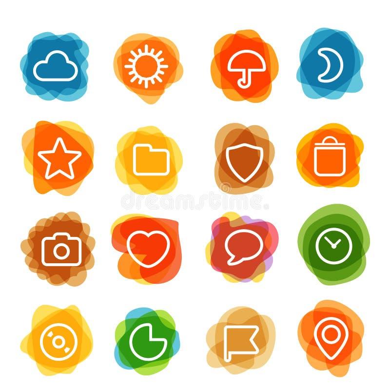 El clip art blanco de los iconos del interfaz del web en color borra stock de ilustración