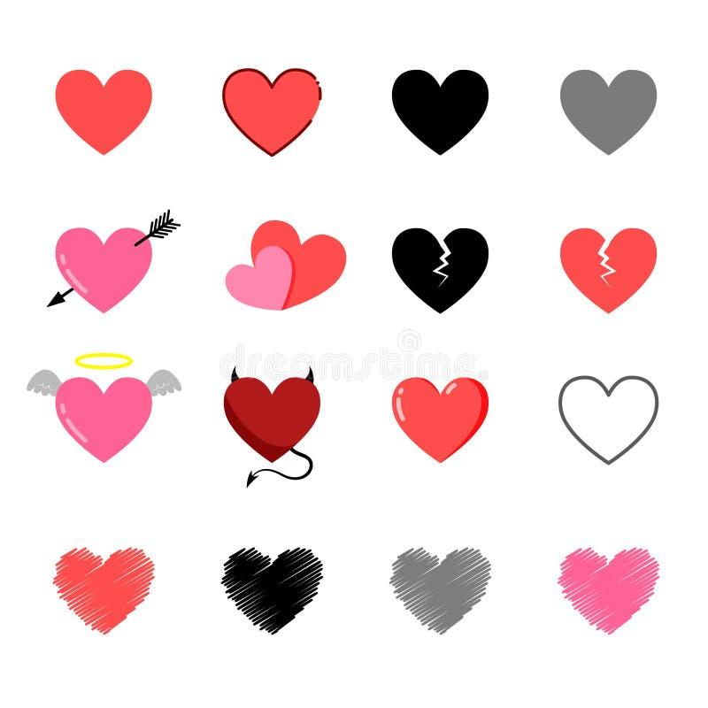 El clip art diseñó completamente los corazones fijados libre illustration