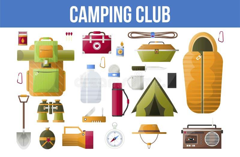 El club que acampa del verano o el vector que acampa equipa iconos ilustración del vector