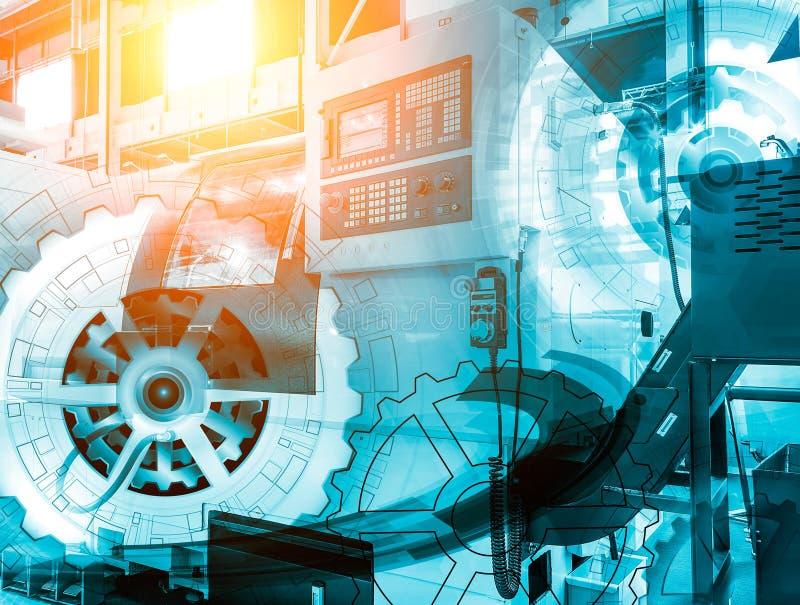 El CNC del panel de control de la máquina con con control numérico cubrió la rueda de engranaje del ejemplo, tecnología digital d stock de ilustración