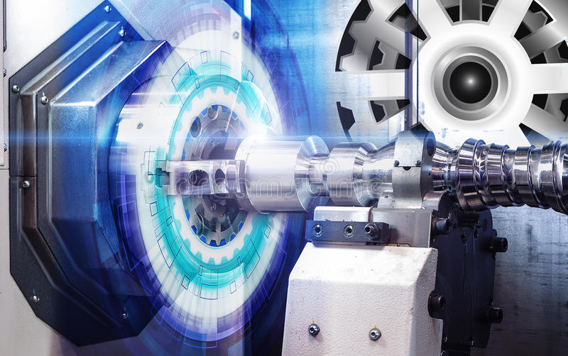 El CNC del panel de control de la máquina con con control numérico cubrió la rueda de engranaje del ejemplo, tecnología digital d ilustración del vector