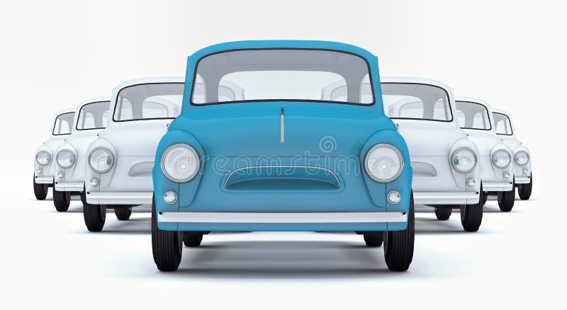 El coche azul del líder del concepto de la dirección que lleva entre blanco en el fondo blanco 3d rinde ilustración del vector