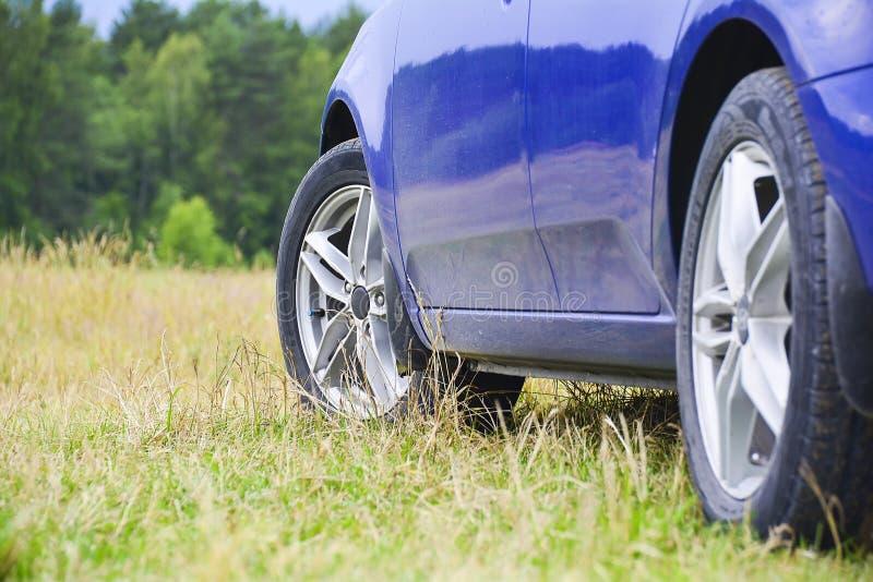 El coche azul en los discos echados se parquea en la hierba contra la perspectiva del primer del bosque Concepto AUTO fotografía de archivo libre de regalías