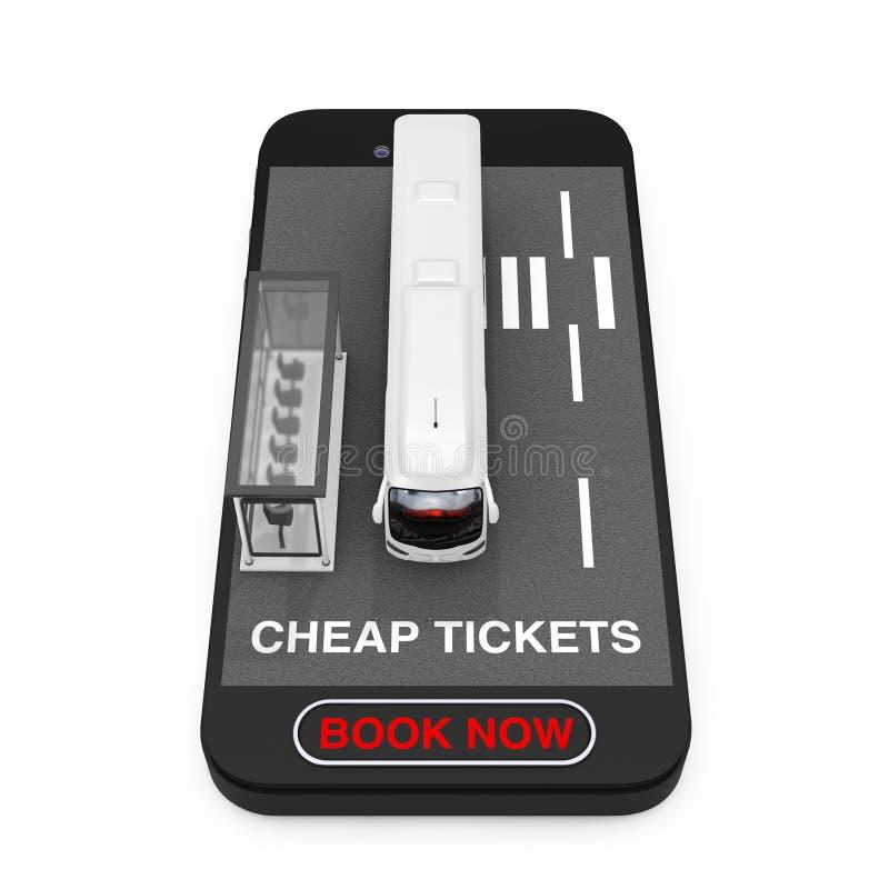 El coche blanco grande Tour Bus con el término de autobuses sobre el teléfono móvil con la muestra barata de los boletos y el lib ilustración del vector