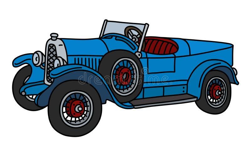 El coche de carreras del azul del vintage stock de ilustración