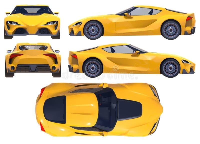 El coche de deportes conceptual del futuro próximo ilustración 3D libre illustration