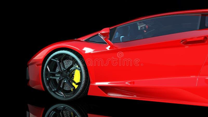 El coche de deportes rojo, la rueda y el lado izquierdo de un automóvil del deporte, coche de carreras aislado en el fondo negro, stock de ilustración