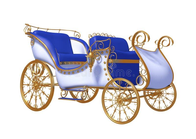 El coche de oro en las ruedas del oro stock de ilustración