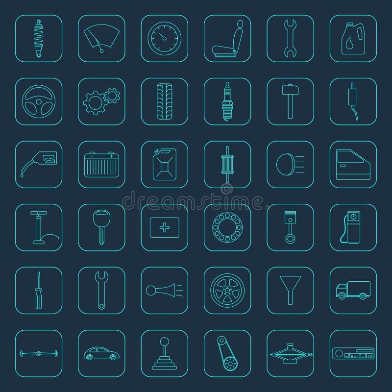 El coche del vector parte iconos stock de ilustración