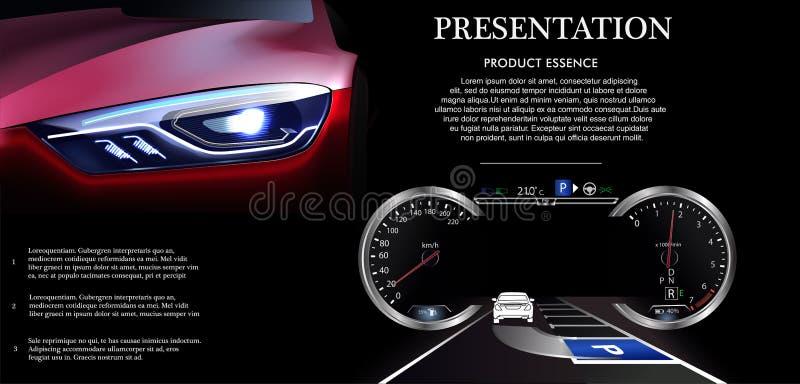 El coche elegante se parquea automáticamente en el estacionamiento, la visión desde el top La seguridad de sistema de la ayuda qu libre illustration