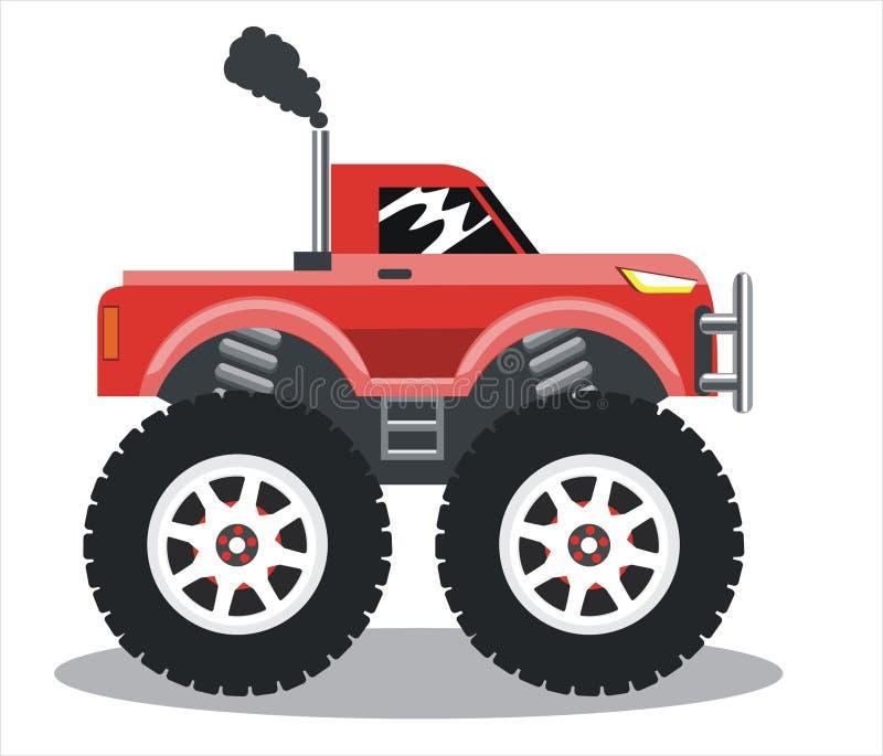 El coche en las ruedas grandes stock de ilustración