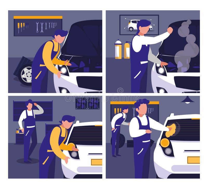 El coche en taller de mantenimiento con los mecánicos combina libre illustration