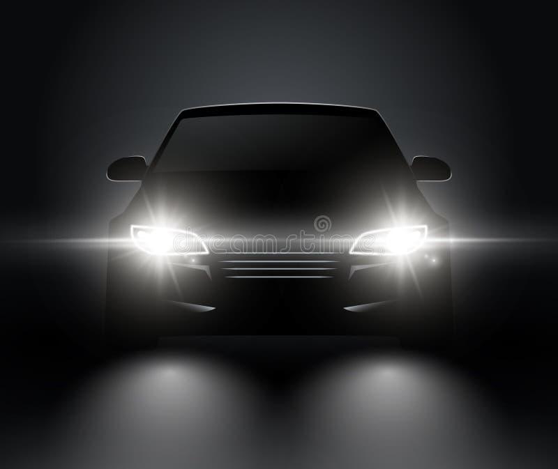 El coche enciende la opinión delantera realista de la silueta Linternas del coche del vector del automóvil en oscuridad ilustración del vector