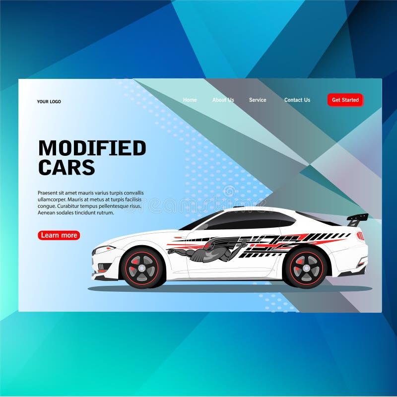 El coche futurista moderno de la competencia de la raza de la etiqueta de la etiqueta engomada del concepto de la plantilla con c ilustración del vector