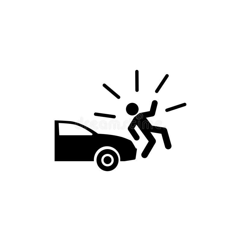El coche golpea abajo el icono plano peatonal del vector foto de archivo libre de regalías