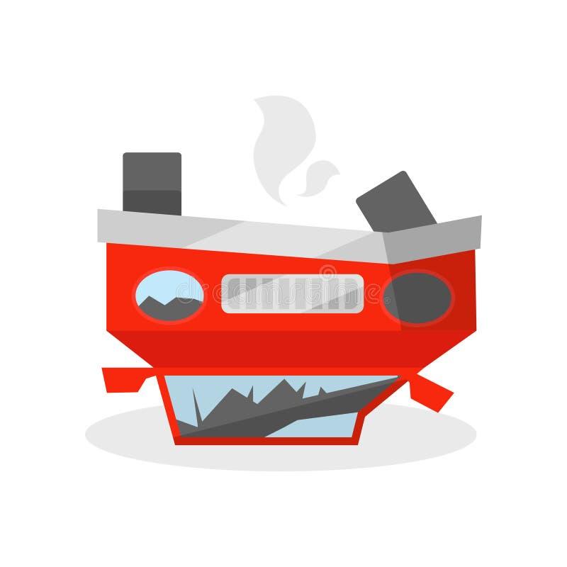 El coche miente revés en su el tejado Automóvil después del desplome Vehículo arruinado Vector plano para el cartel del promo o e stock de ilustración